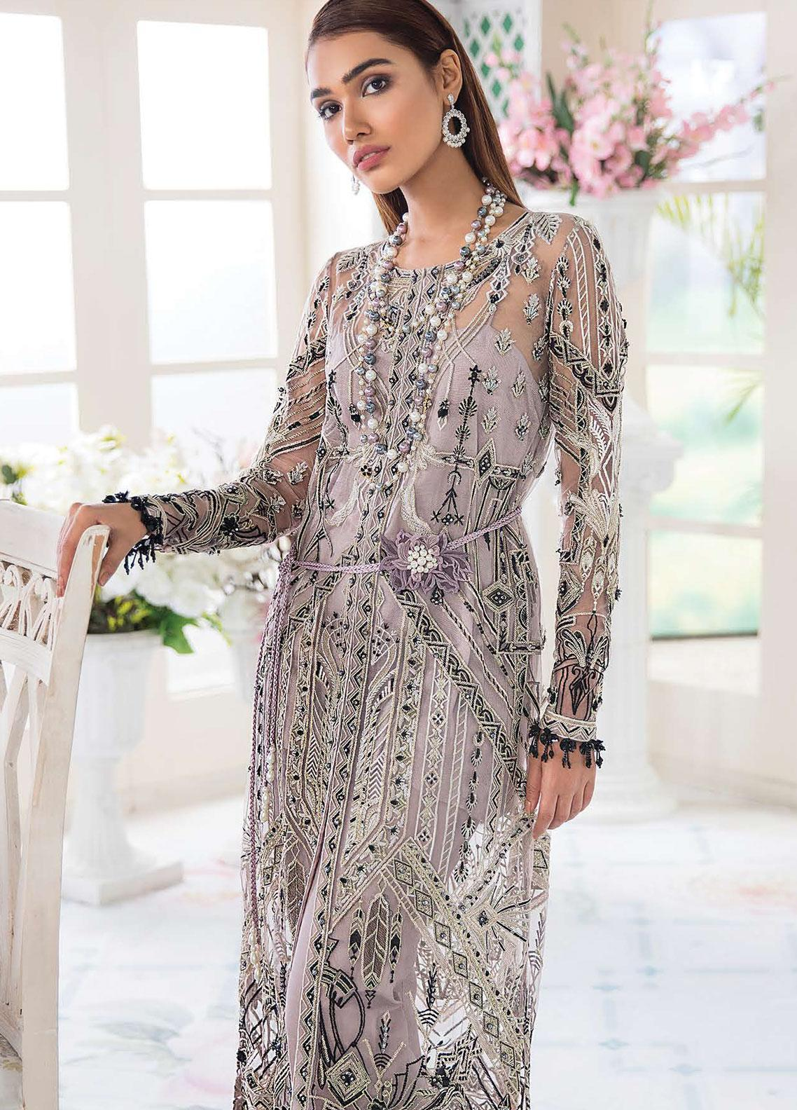 Freesia Suffuse by Sana Yasir Embroidered Zari Net Unstitched 3 Piece Suit FRS19E FAYE - Eid Collection
