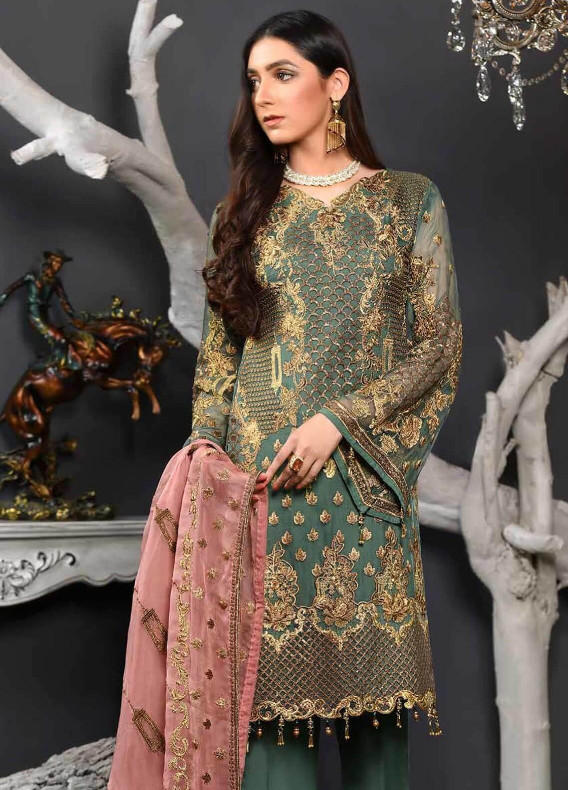 Freesia by Maryum N Maria Embroidered Chiffon Unstitched 3 Piece Suit FMM19EC 801 TUSCANY MAZE - Luxury Collection