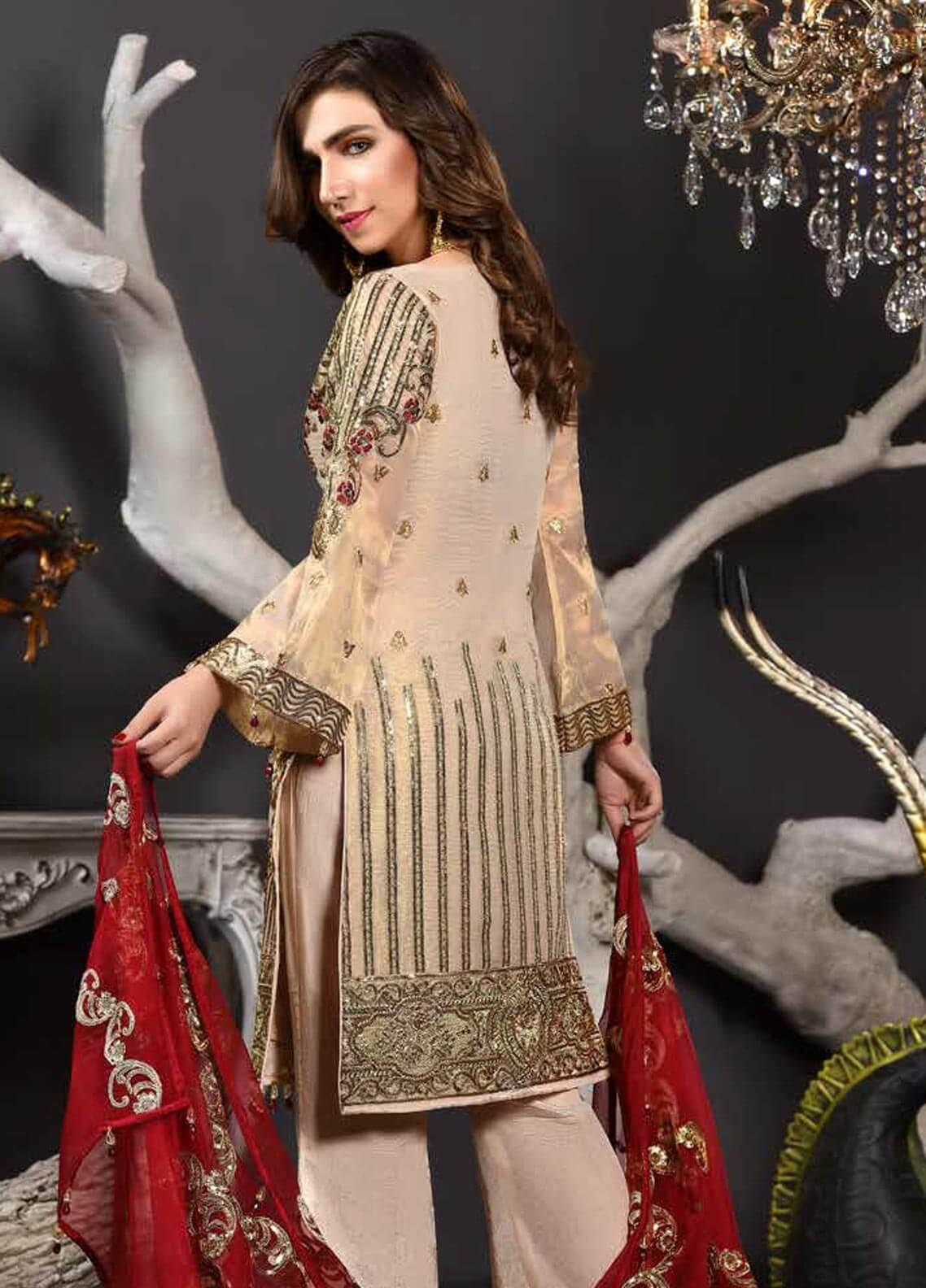 Freesia by Maryum N Maria Embroidered Chiffon Unstitched 3 Piece Suit FMM19EC 802 BEIGE JEWELS - Luxury Collection