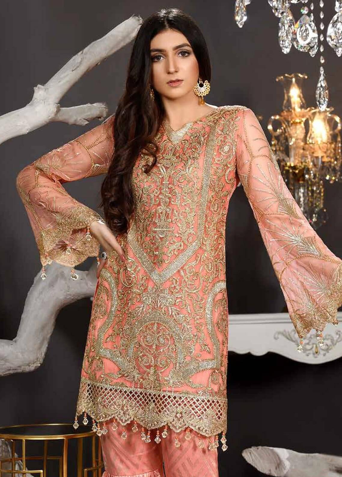 Freesia by Maryum N Maria Embroidered Chiffon Unstitched 3 Piece Suit FMM19EC 803 GILDED PEACH - Luxury Collection