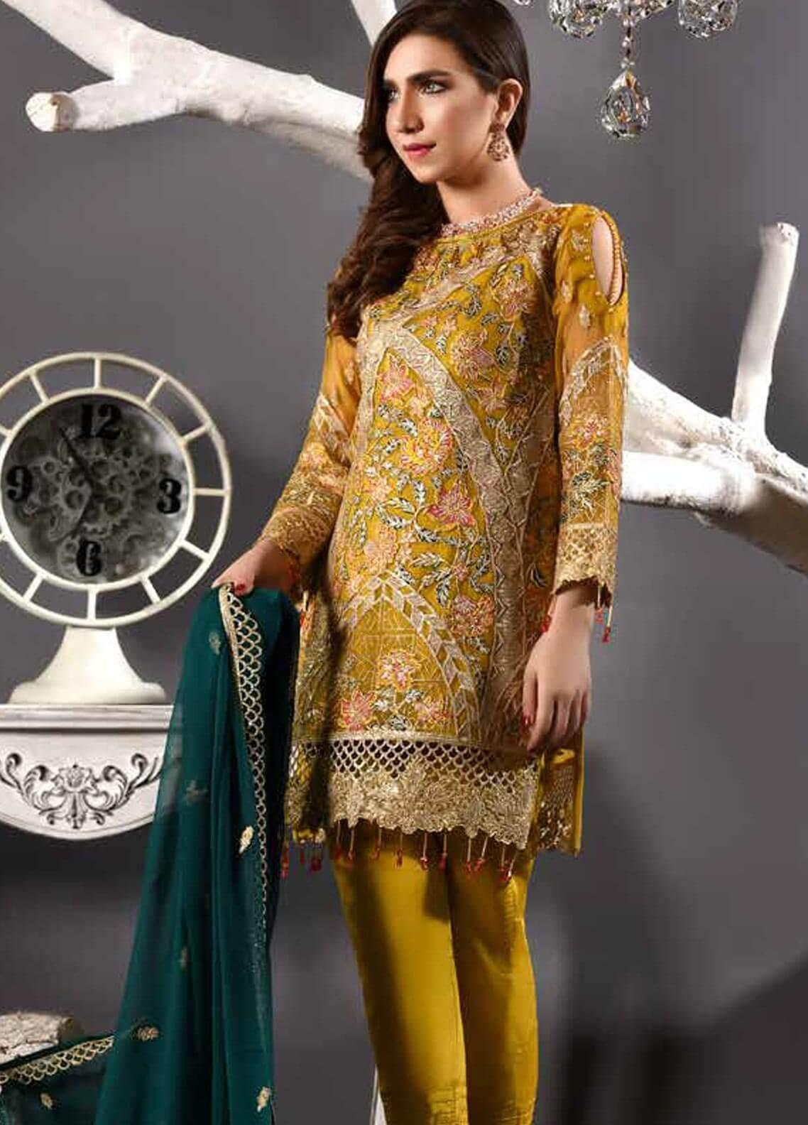 Freesia by Maryum N Maria Embroidered Chiffon Unstitched 3 Piece Suit FMM19EC 804 GOLD SOIREE - Luxury Collection