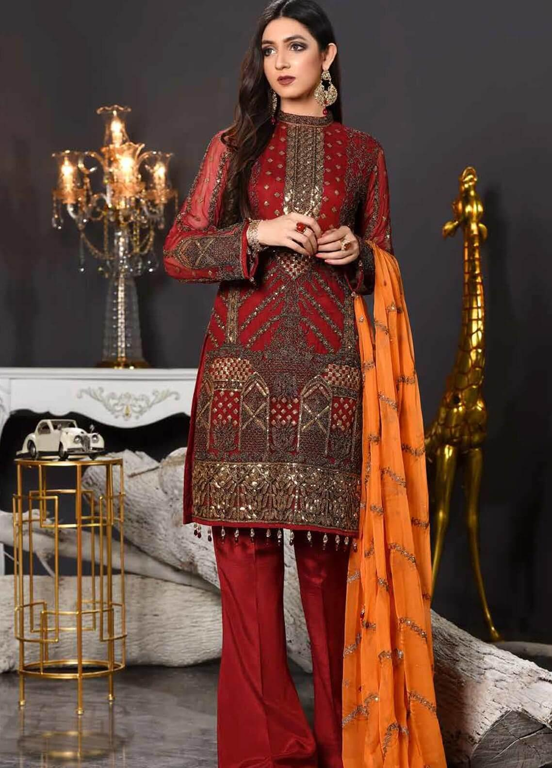 Freesia by Maryum N Maria Embroidered Chiffon Unstitched 3 Piece Suit FMM19EC 808 RED WINE - Luxury Collection
