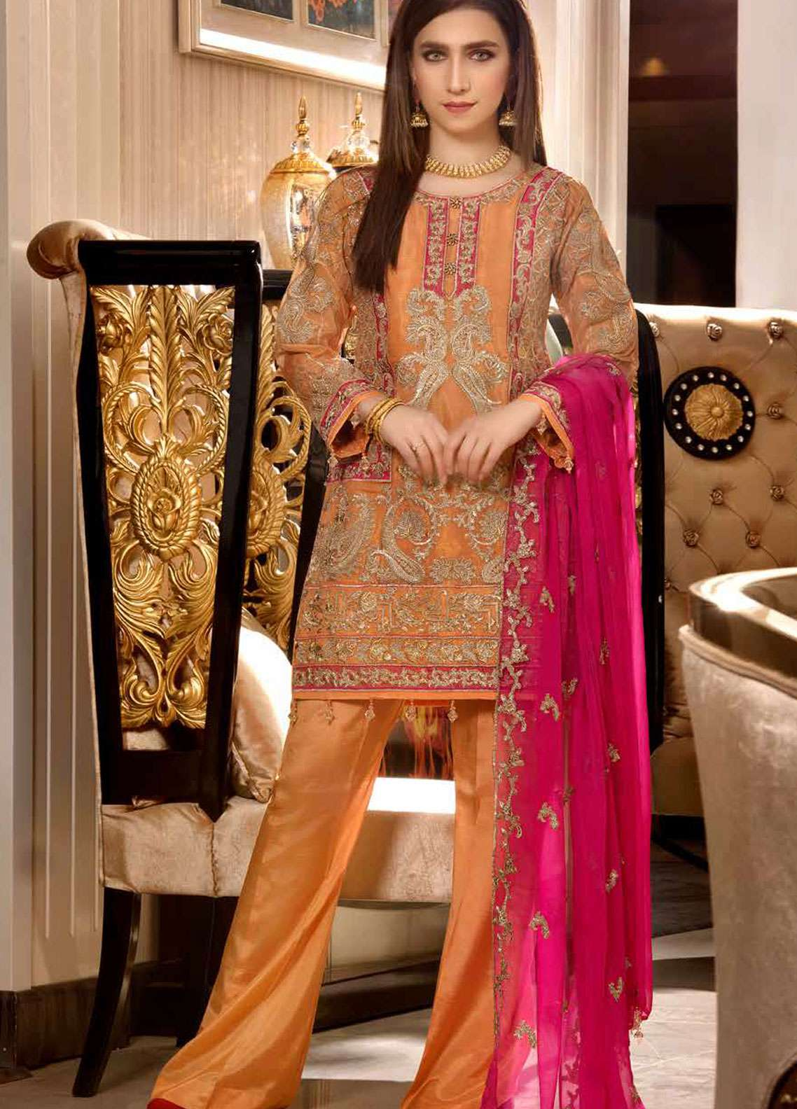 Freesia by Maryum N Maria Embroidered Missouri Unstitched 3 Piece Suit FMM19C 604 FOLK MAGIC - Luxury Collection