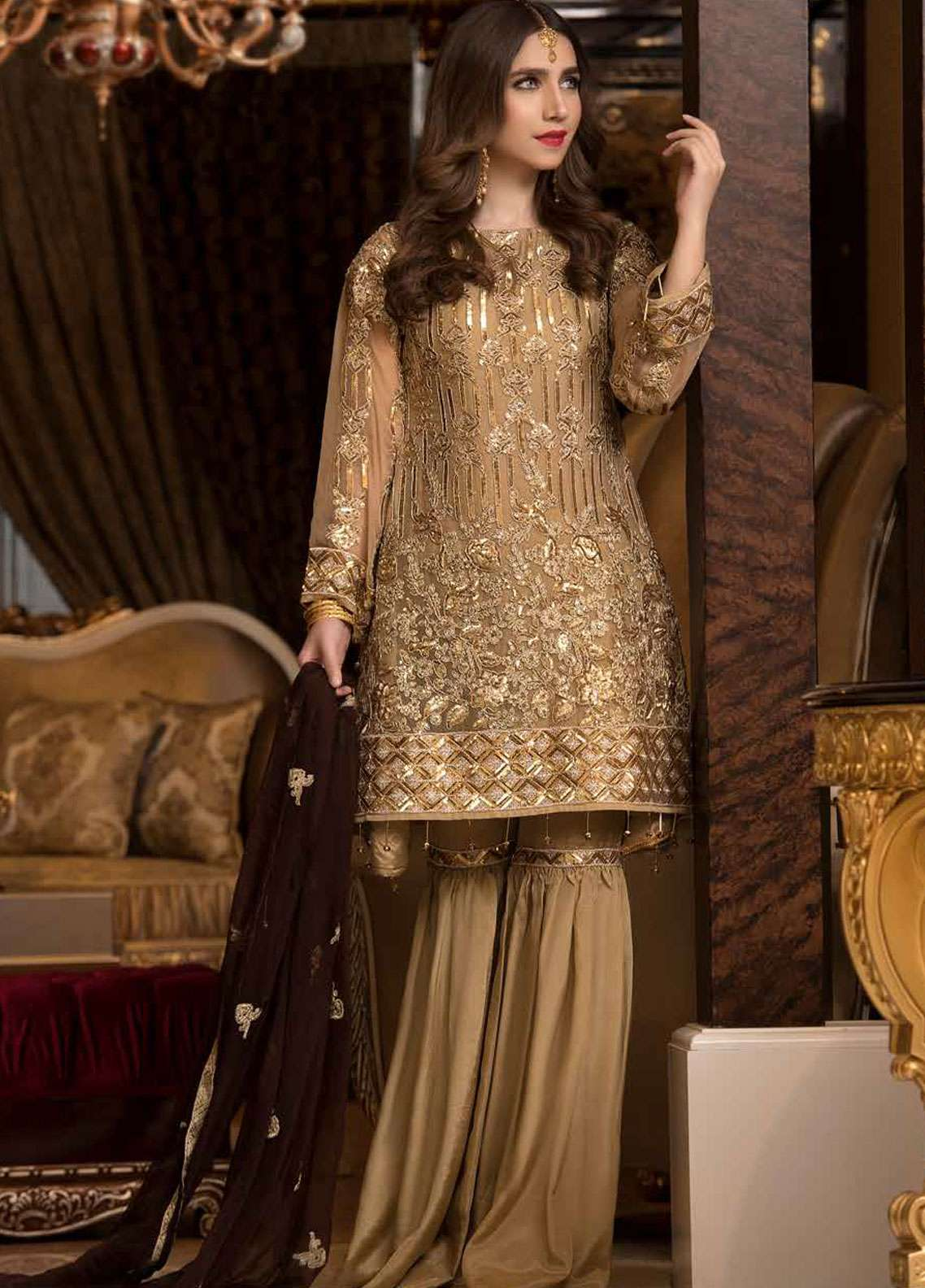 Freesia by Maryum N Maria Embroidered Chiffon Unstitched 3 Piece Suit FMM19C 608 EVA SHINE - Luxury Collection