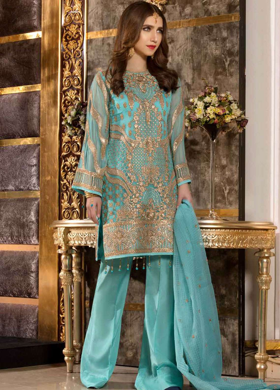 f31e4f141f30b Freesia by Maryum N Maria Embroidered Chiffon Unstitched 3 Piece Suit  FMM19C 609 ENCHANTING SEA -