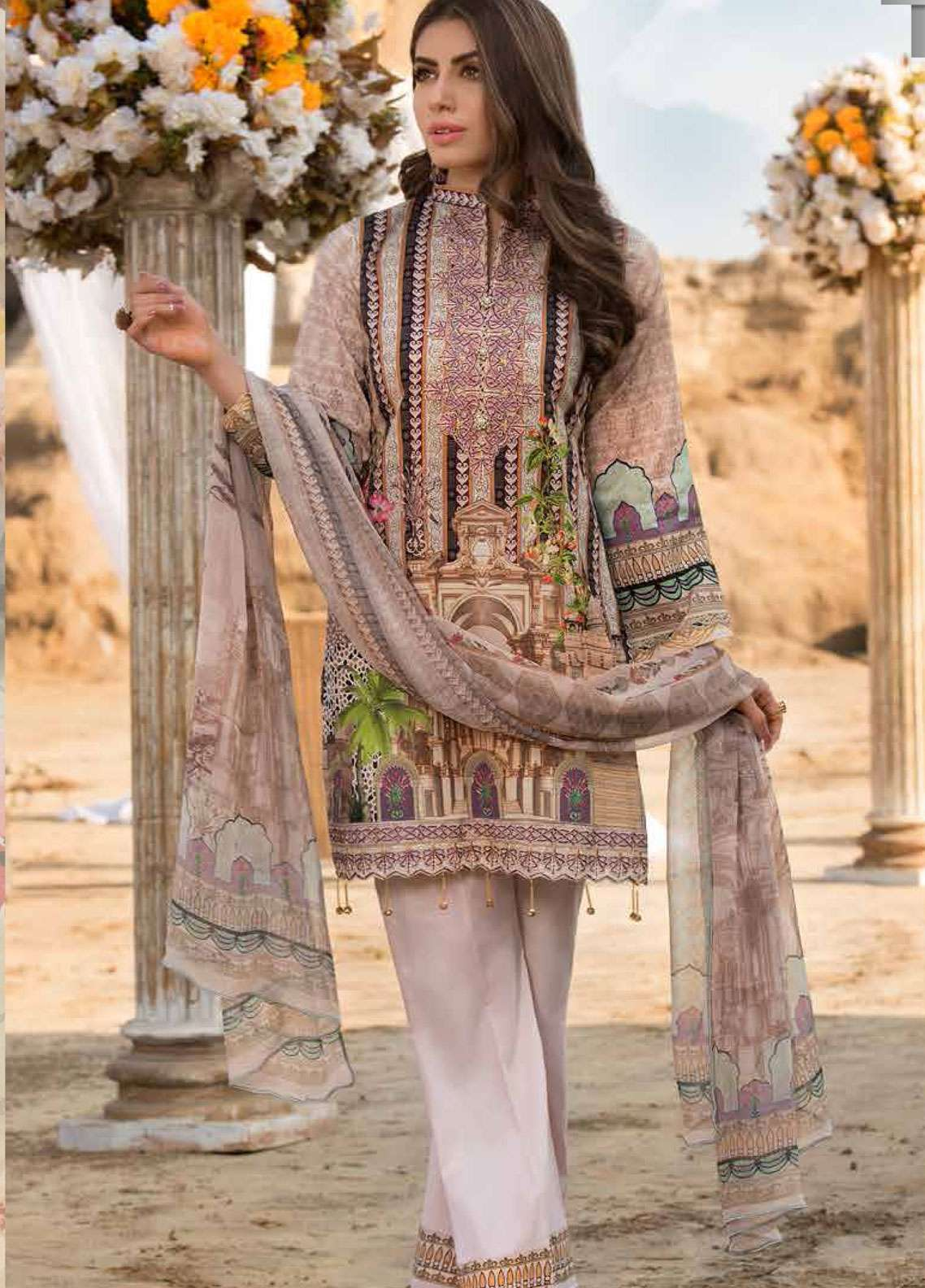 Freesia By Maryum N Maria Embroidered Lawn Unstitched 3 Piece Suit FMM19L 03 SKRIBU - Spring / Summer Collection