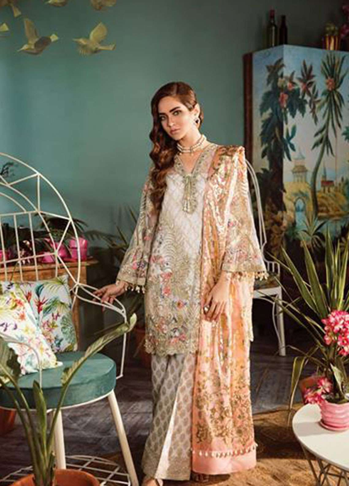 Freesia by Suffuse Embroidered Zari Net Unstitched 3 Piece Suit FRS19ZN 1 GUSHING CORAL - Luxury Collection
