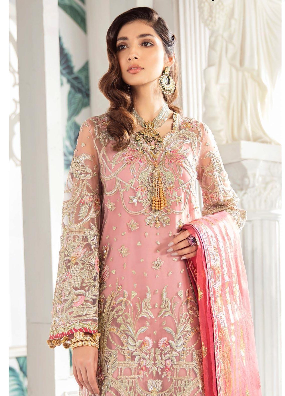 Freesia by Suffuse Embroidered Net Unstitched 3 Piece Suit FRS19W Indigenous Rose - Wedding Collection