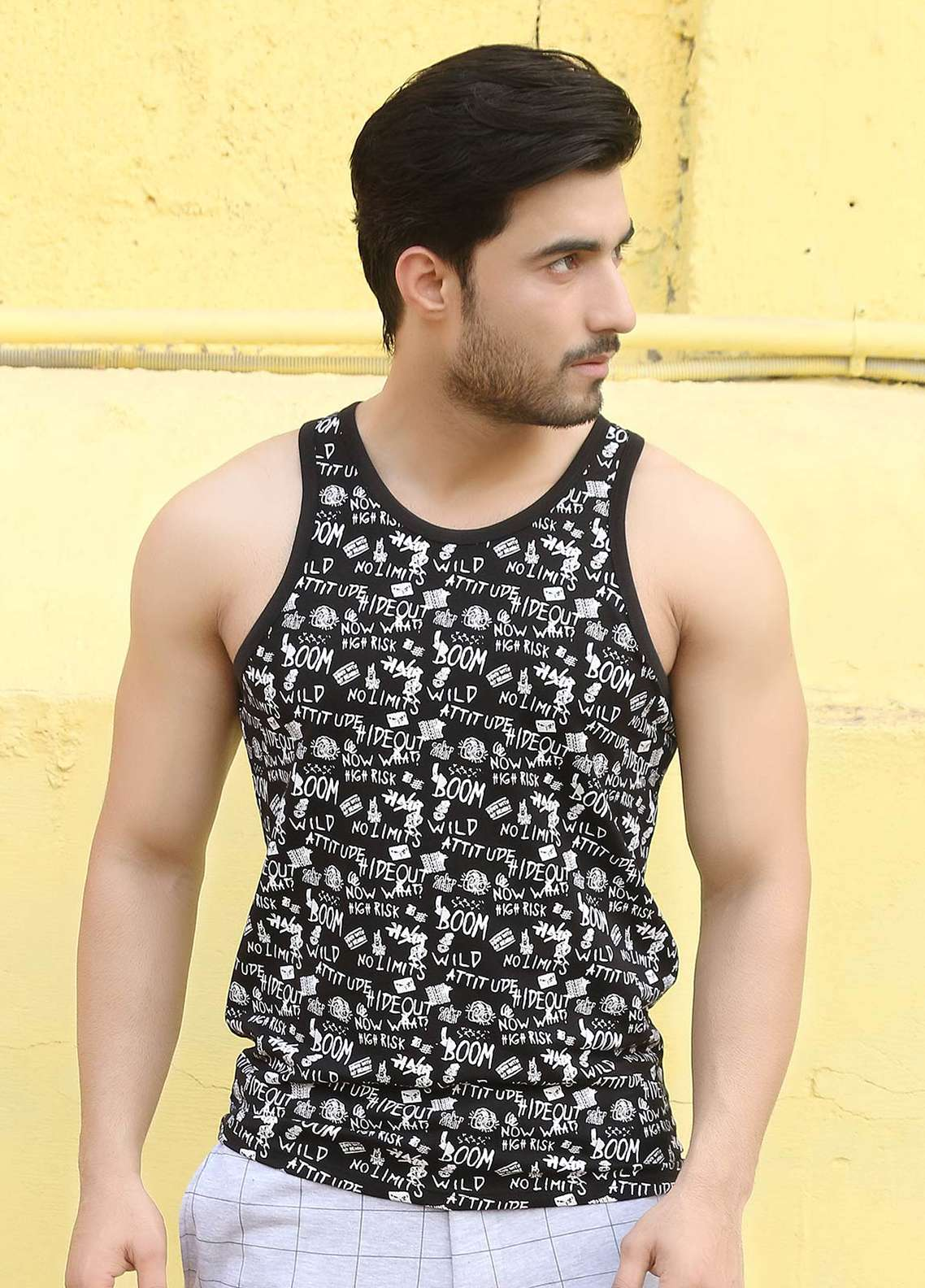 Furor  Printed Tank Tops for Men - Black FRM18TT 002