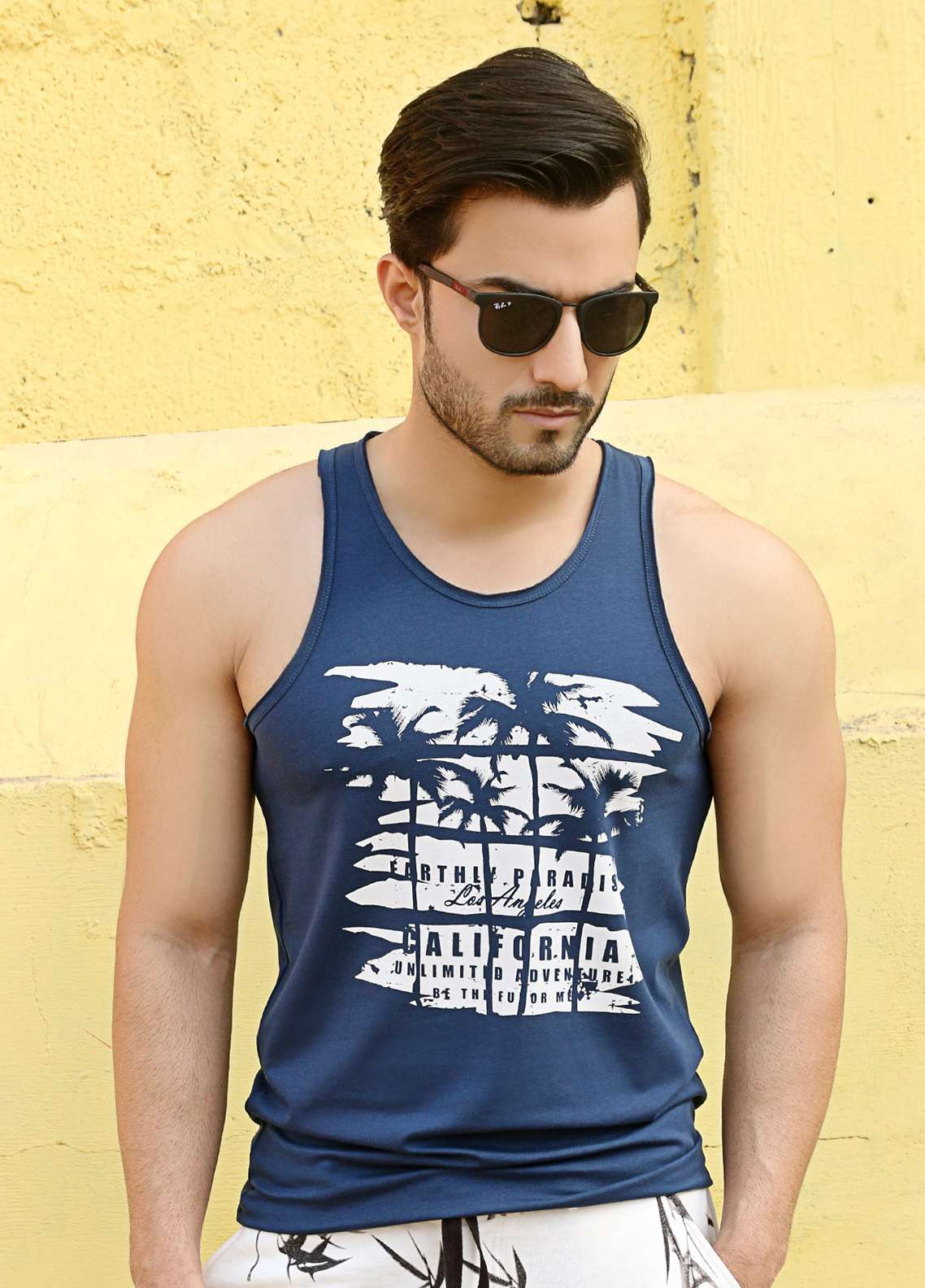 Furor  Printed Men Tank Tops - Navy Blue FRM18TT 004