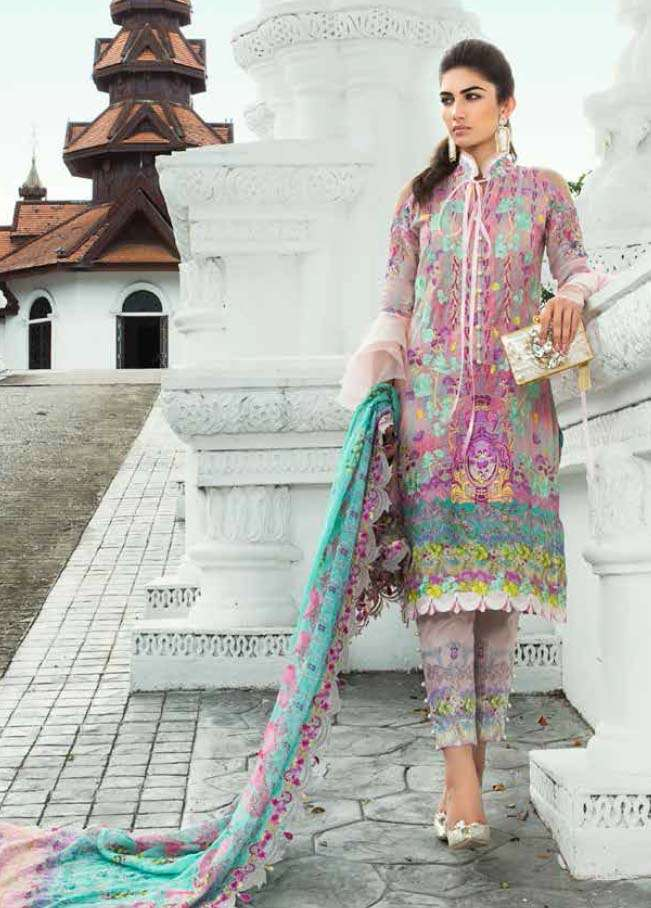 Farah Talib By LSM Embroidered Lawn Unstitched 3 Piece Suit FT17E 1B
