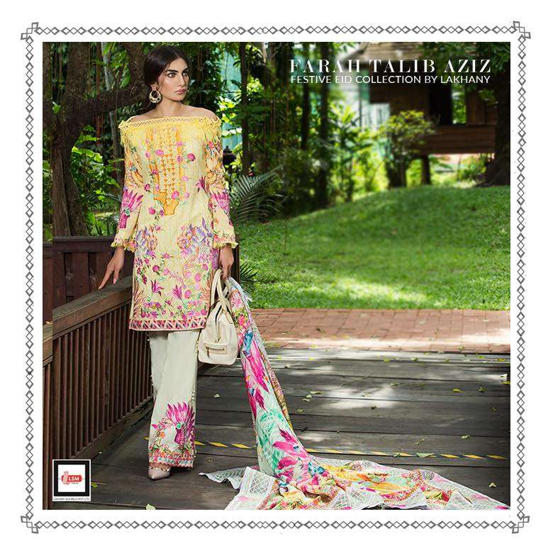 Farah Talib By LSM Embroidered Lawn Unstitched 3 Piece Suit FT17E 3B