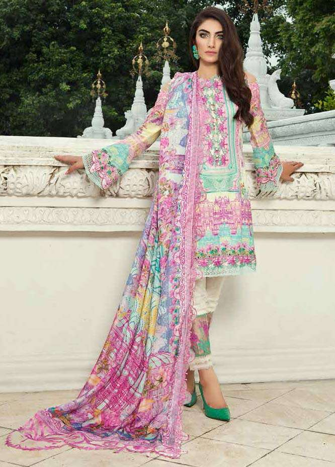Farah Talib By LSM Embroidered Lawn Unstitched 3 Piece Suit FT17E 4A