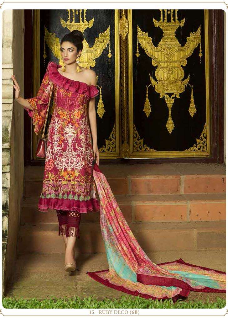 Farah Talib By LSM Embroidered Lawn Unstitched 3 Piece Suit FT17E 6B