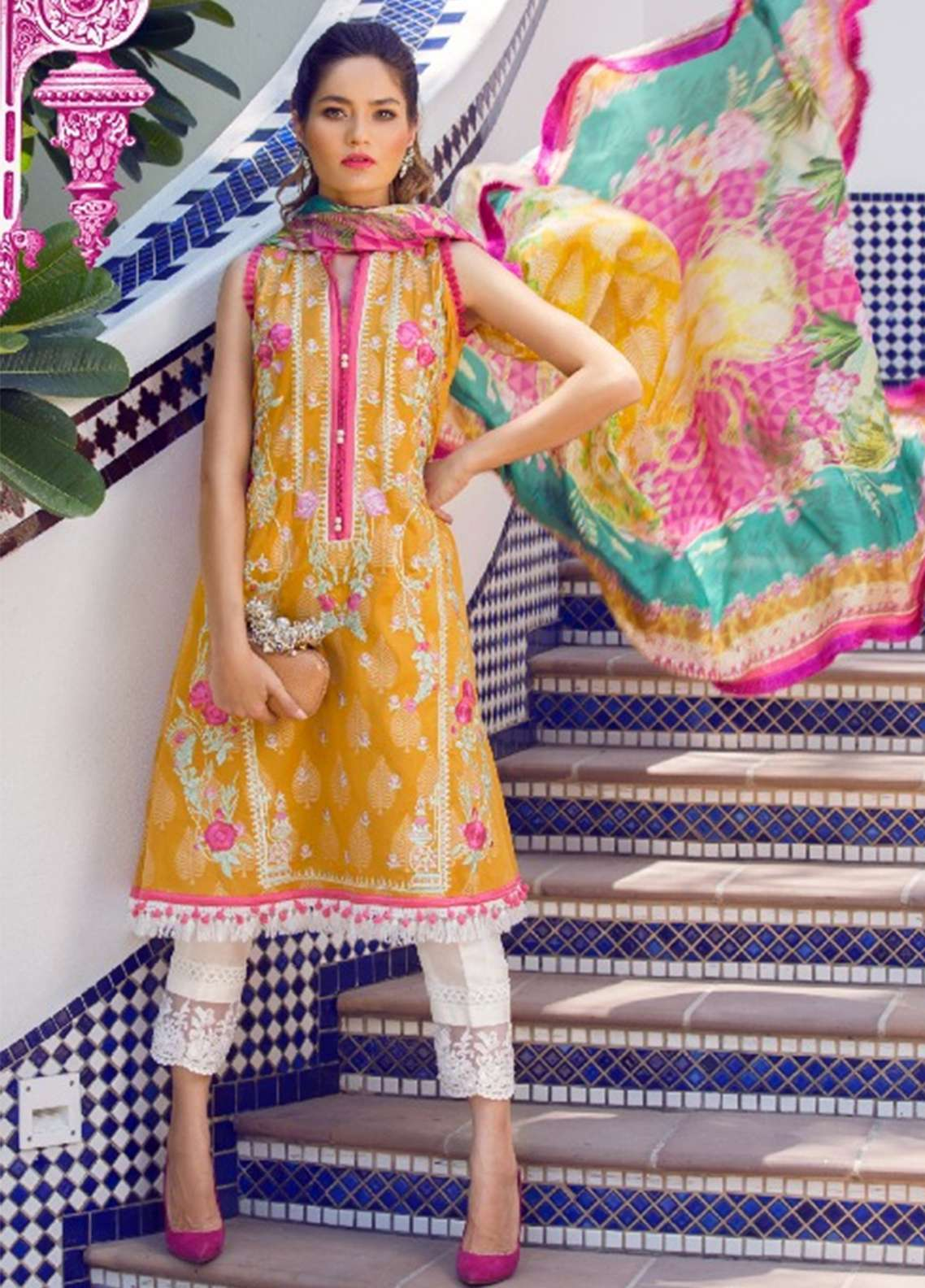Farah Talib Embroidered Lawn Unstitched 3 Piece Suit FT18E 04 - Eid Collection
