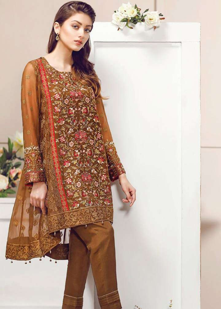 Baroque Embroidered Chiffon Unstitched 3 Piece Suit FU17E2 01