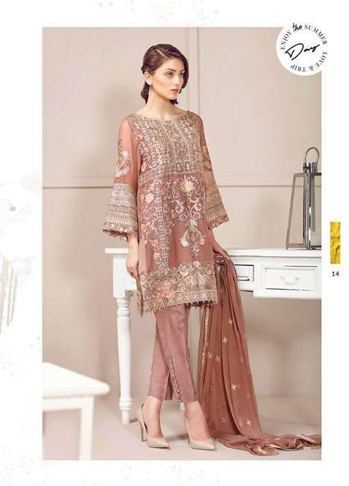 Baroque Embroidered Chiffon Unstitched 3 Piece Suit FU17E2 04