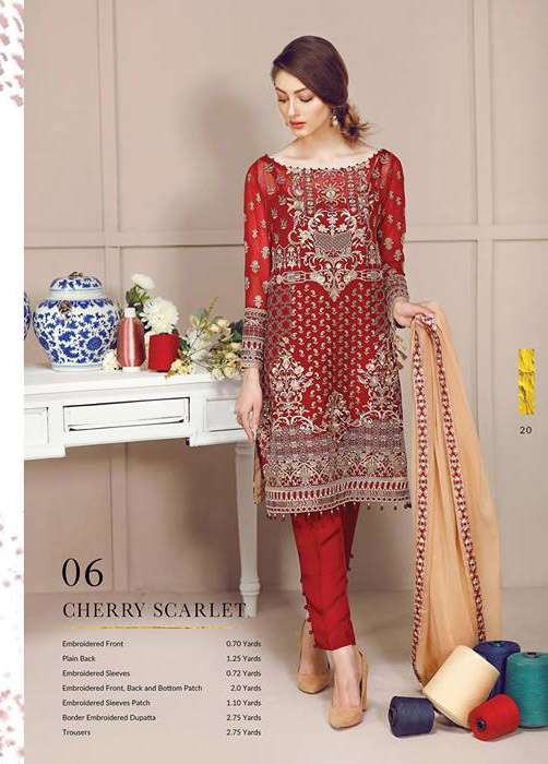 Baroque Embroidered Chiffon Unstitched 3 Piece Suit FU17E2 06