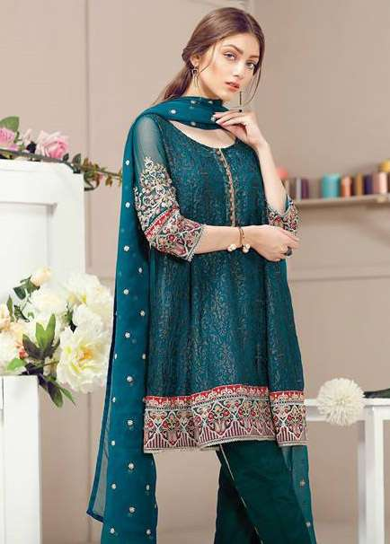 Baroque Embroidered Chiffon Unstitched 3 Piece Suit FU17E2 07