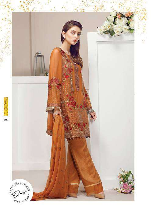 Baroque Embroidered Chiffon Unstitched 3 Piece Suit FU17E2 08