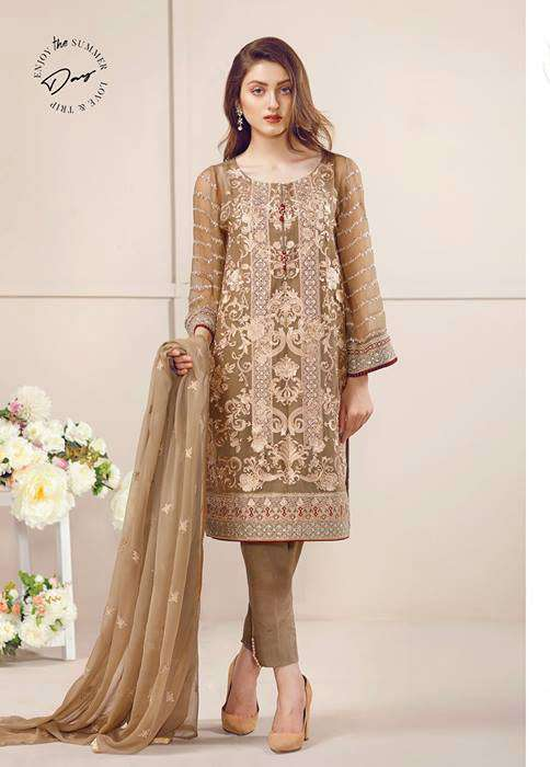 Baroque Embroidered Chiffon Unstitched 3 Piece Suit FU17E2 10
