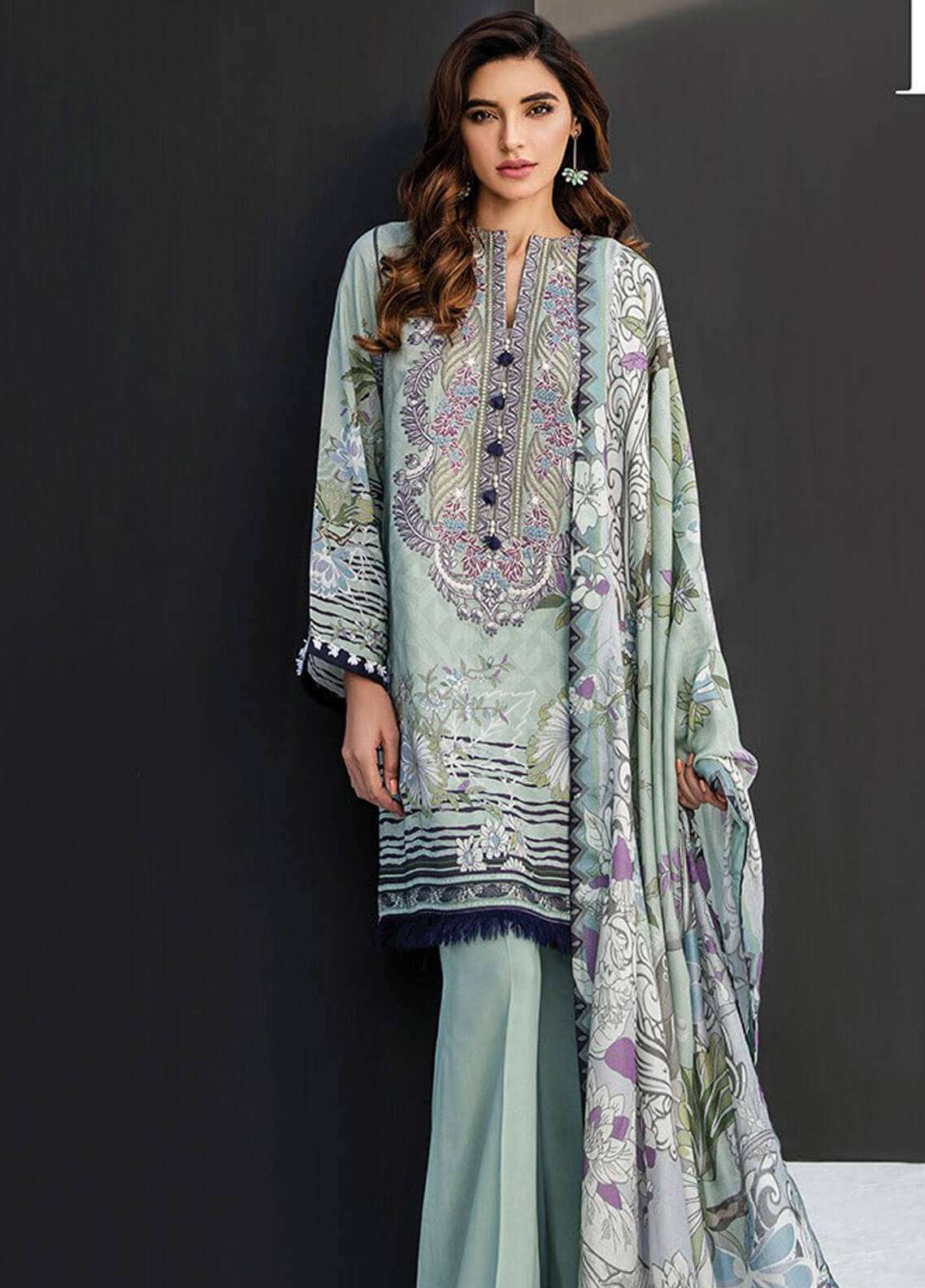 Fuchsia By Baroque Embroidered Linen Unstitched 3 Piece Suit FC18-L2 10 - Winter Collection