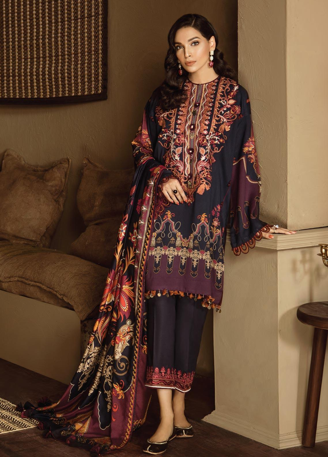 Fuchsia by Baroque Embroidered Linen Unstitched 3 Piece Suit FC19LN 08 HUMET - Formal Collection
