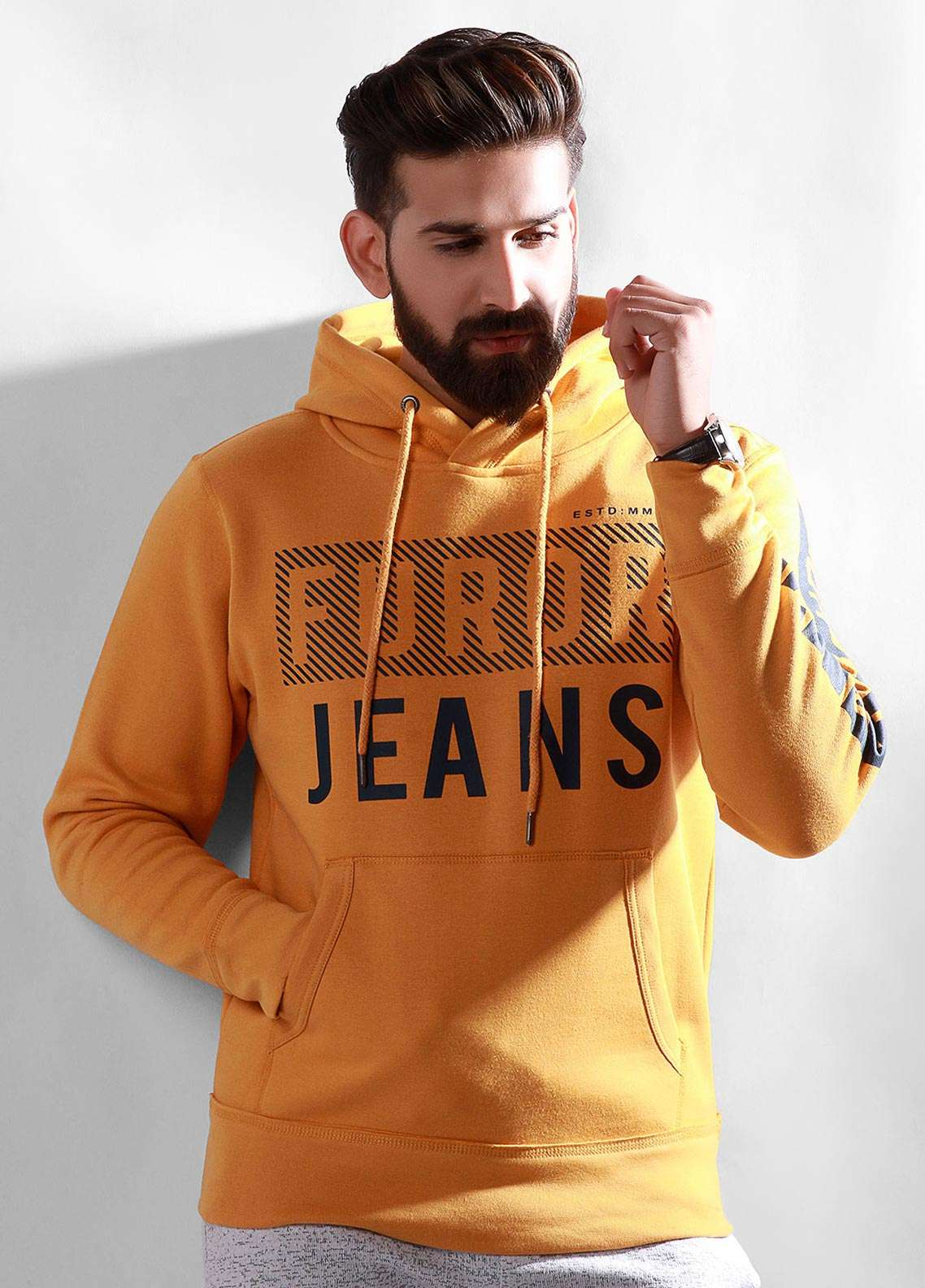Furor Cotton Winter Hoodies for Men - Mustard FMTH18-001