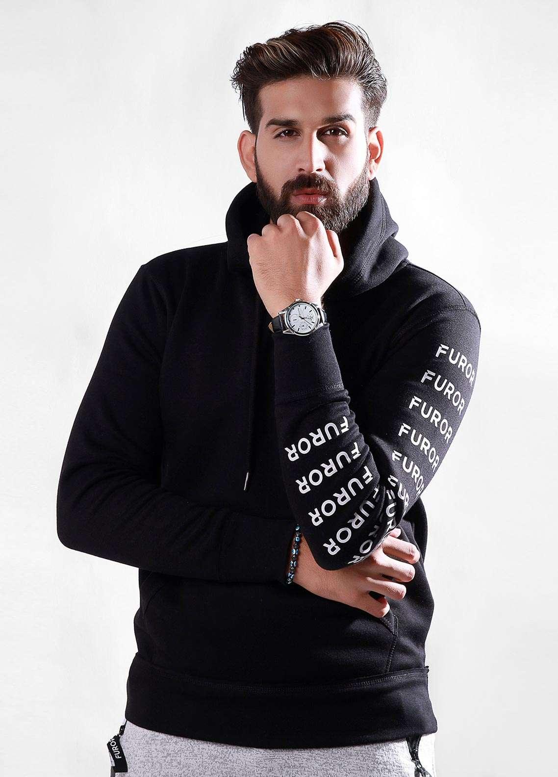 Furor Cotton Winter Hoodies for Men - Black FMTH18-009