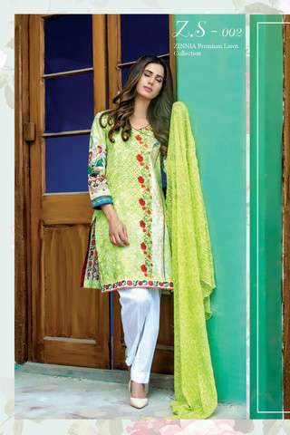 ZS Textile Embroidered Lawn Unstitched 3 Piece Suit FV17L 02