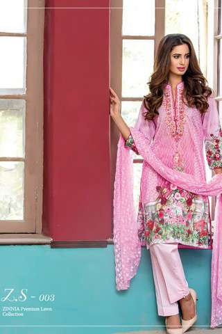 ZS Textile Embroidered Lawn Unstitched 3 Piece Suit FV17L 03