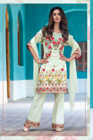 ZS Textile Embroidered Lawn Unstitched 3 Piece Suit FV17L 05