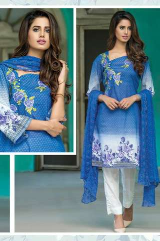 ZS Textile Embroidered Lawn Unstitched 3 Piece Suit FV17L 06