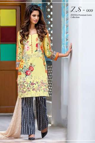 ZS Textile Embroidered Lawn Unstitched 3 Piece Suit FV17L 09