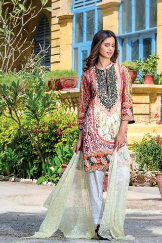 ZS Textile Embroidered Lawn Unstitched 3 Piece Suit FV17L 11