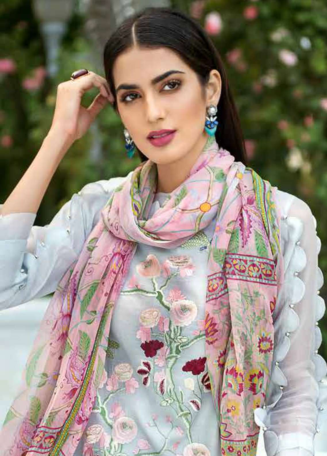 Gul Ahmed Embroidered Silk Net Unstitched 3 Piece Suit GA18-E2 EA-47 - Eid Ul Azha Collection