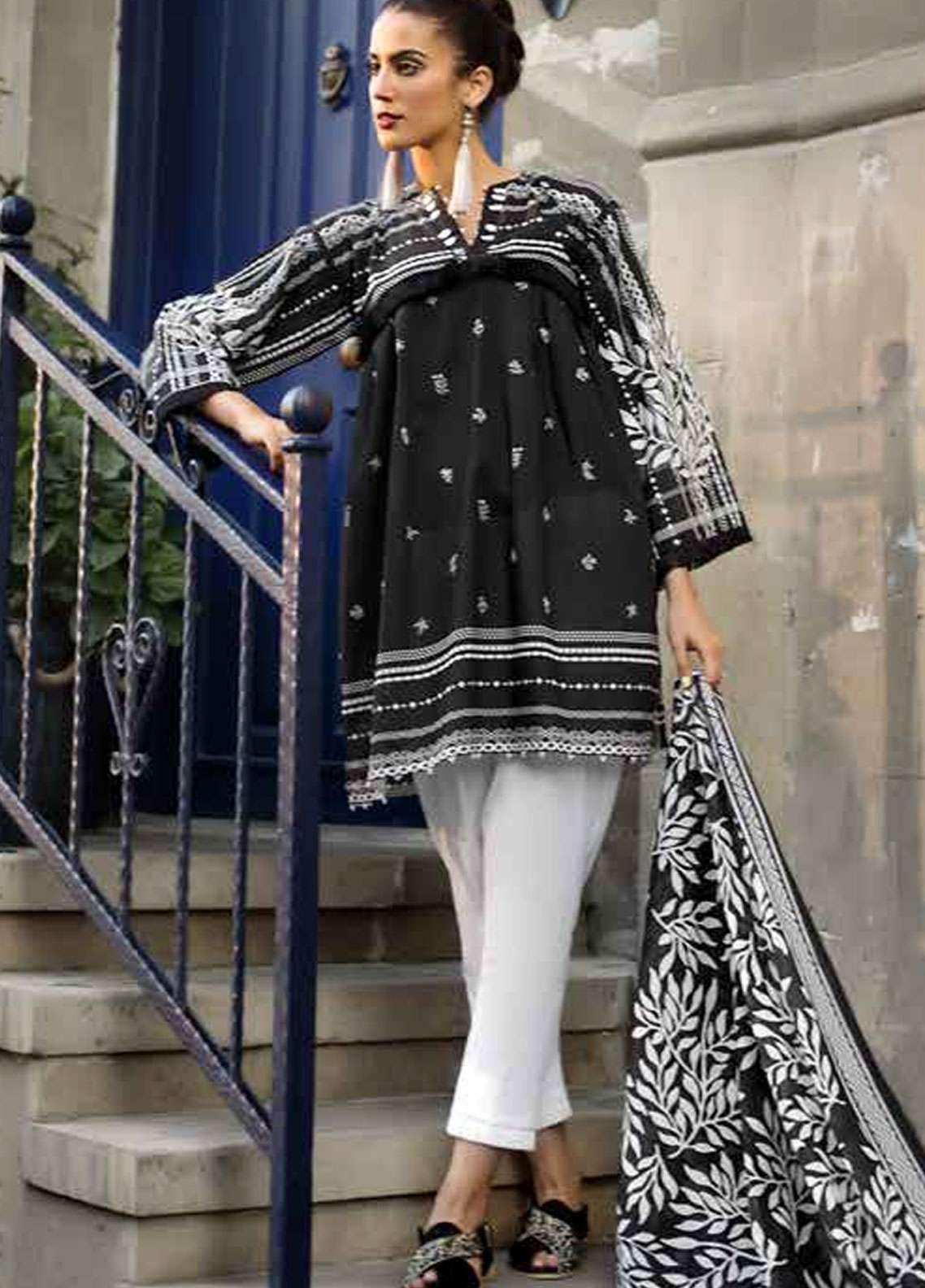 9c66b762b8 Gul Ahmed Printed Lawn Unstitched 2 Piece Suit GA18BW BT-03 - Black & White