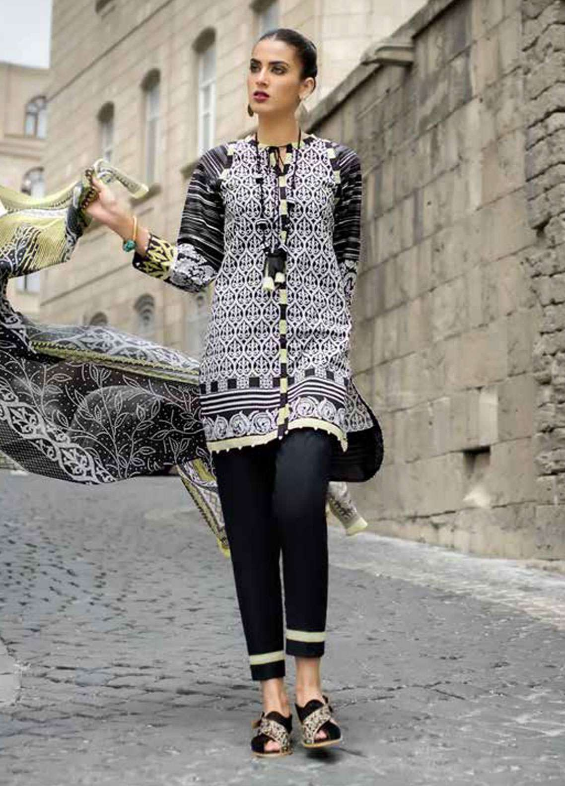 c18a7c60d9 Gul Ahmed Printed Lawn Unstitched 2 Piece Suit GA18BW BT-04 - Black & White  Collection