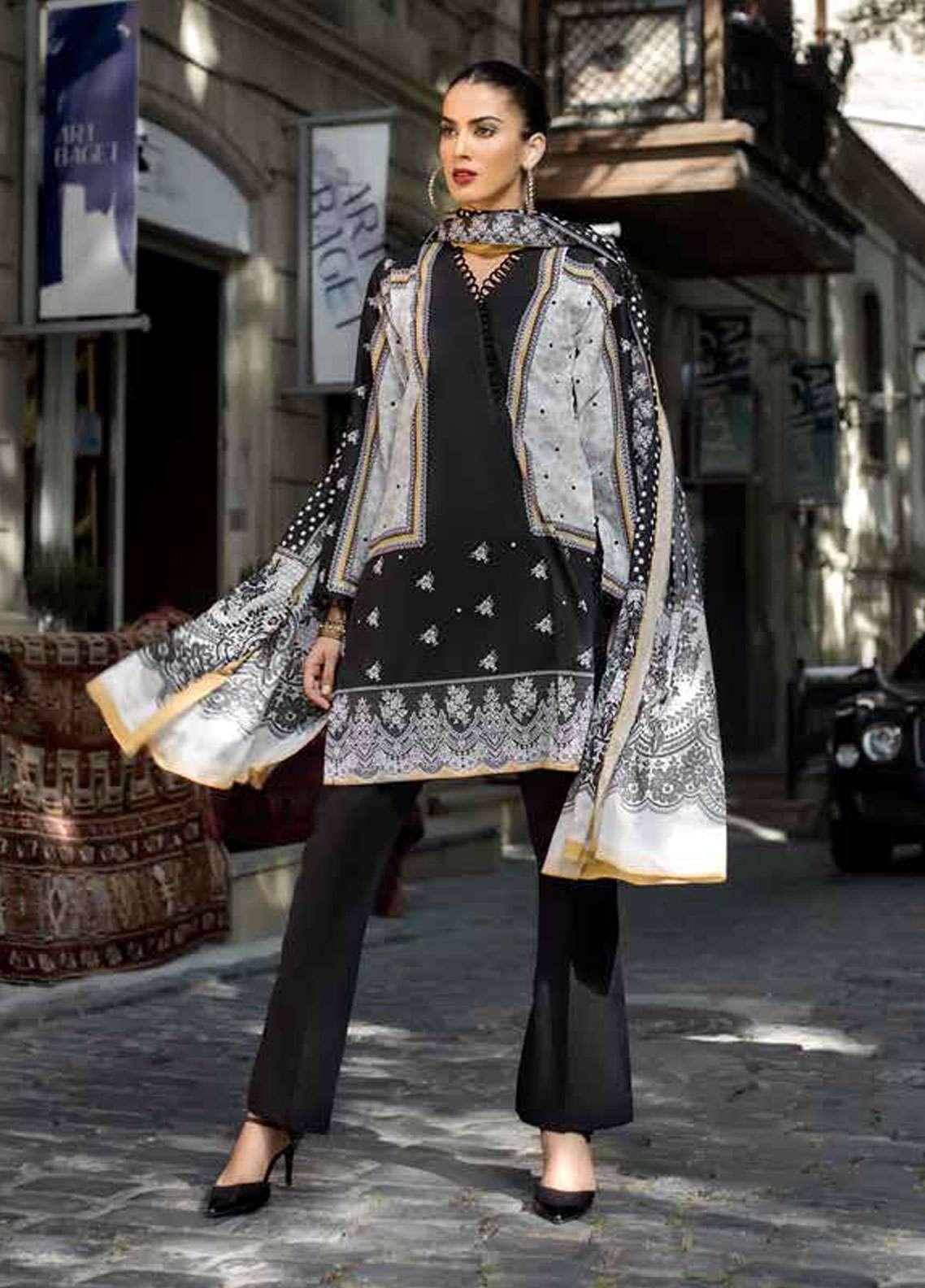 c94e76d595 Gul Ahmed Printed Lawn Unstitched 2 Piece Suit GA18BW BT-05 - Black & White