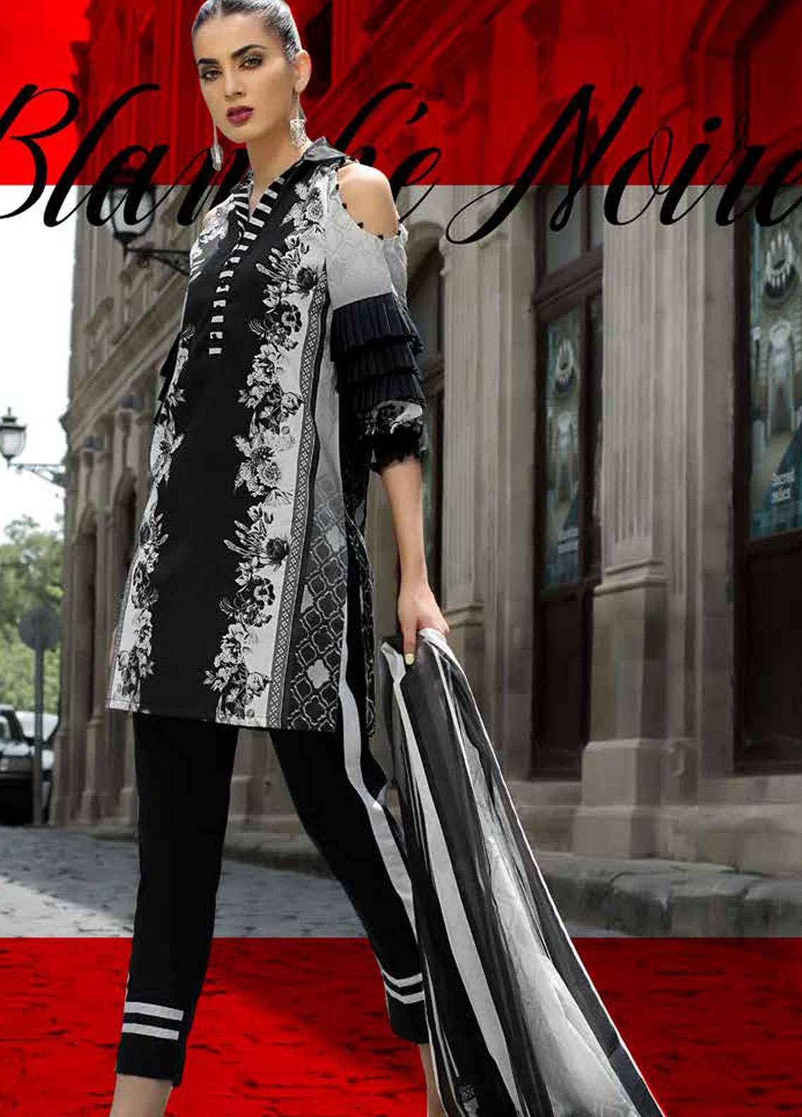 800b5d6c51 Gul Ahmed Printed Lawn Unstitched 2 Piece Suit GA18BW BT-06 - Black & White