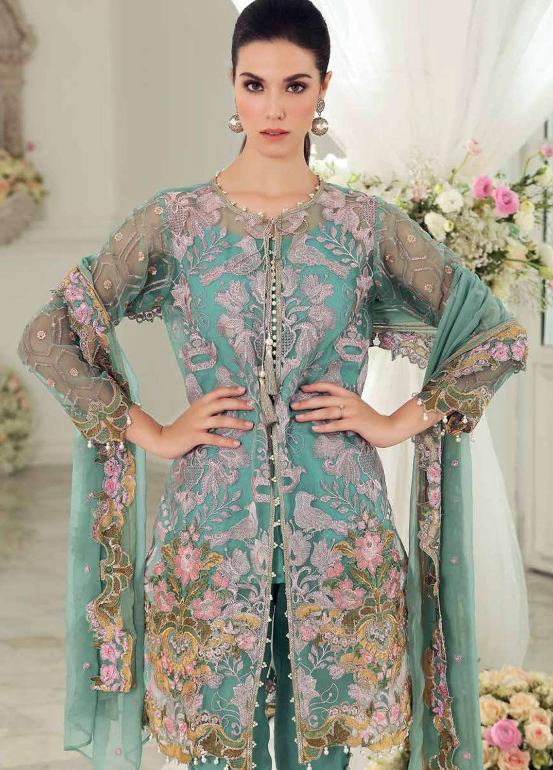8cf9c07366 Gul Ahmed Embroidered Organza Unstitched 3 Piece Suit GA18E FE-121 -  Festive Collection