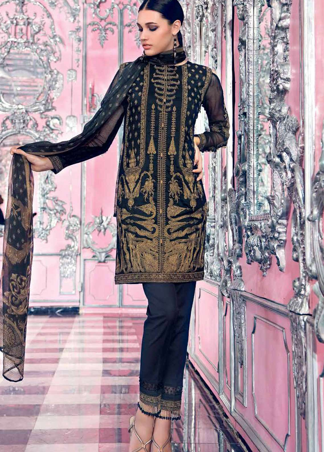 Gul Ahmed Embroidered Khaadi Net Unstitched 3 Piece Suit GA18E FE-79 - Festive Collection