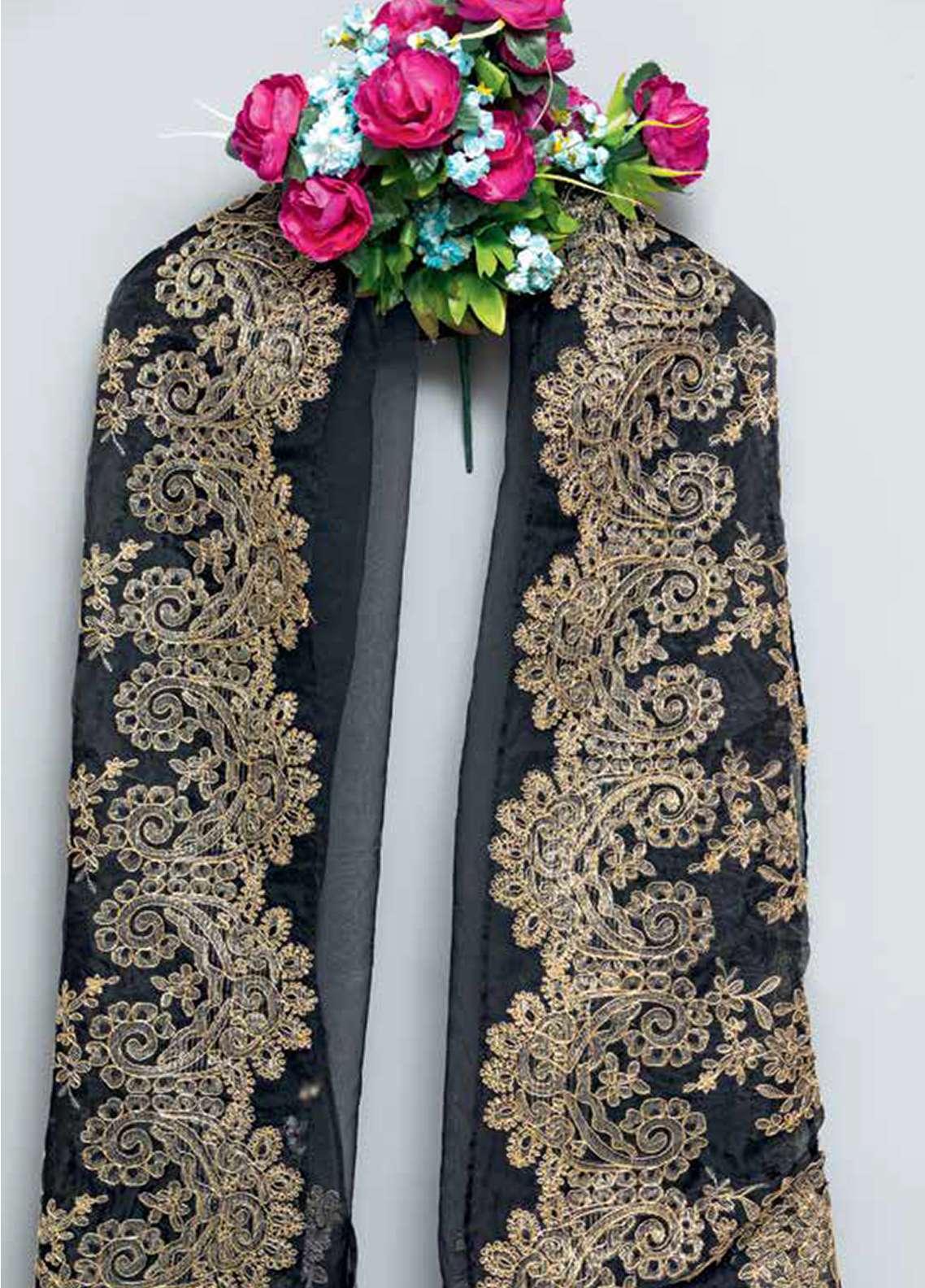 Gul Ahmed Embroidered Organza Unstitched Dupatta GA18E RE-02 - Festive Colelction