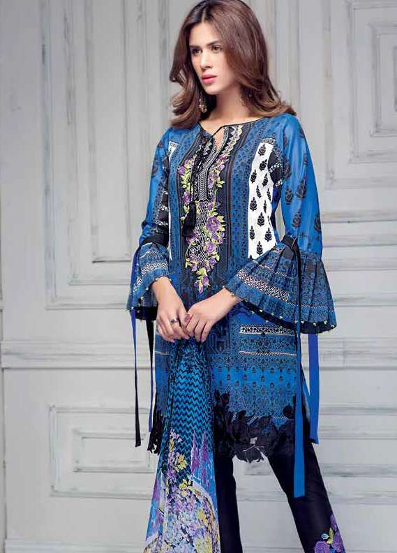 b284d2f65f Gul Ahmed Embroidered Lawn Unstitched 3 Piece Suit GA18L CT-249 - Premium  Collection