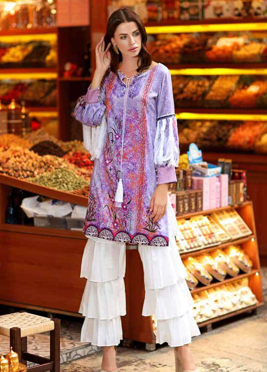 Gul Ahmed Printed Cotton Satin Unstitched Kurties GAS18C DCSS 03 - Digital Printed Collection