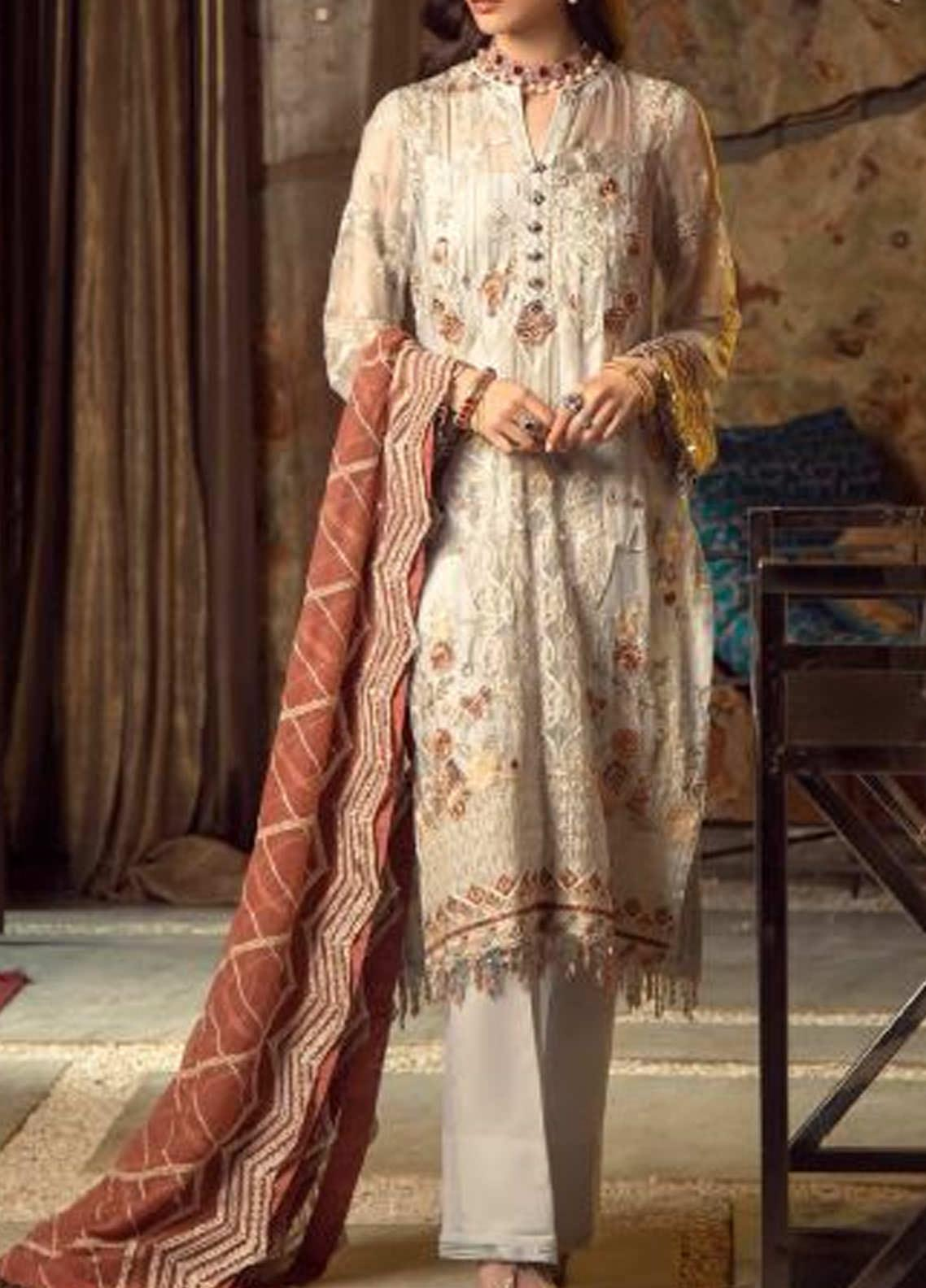 Ghazal by AIK Atelier Embroidered Chiffon Unstitched 3 Piece Suit AK20G LOOK-07 - Luxury Collection