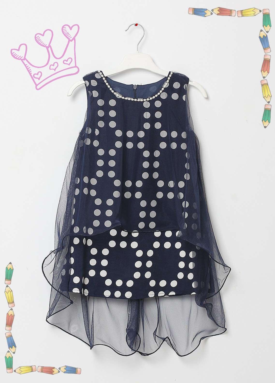 2b52e4bd005b Sanaulla Exclusive Range Cotton Net Fancy Frocks for Girls - 8524 Blue