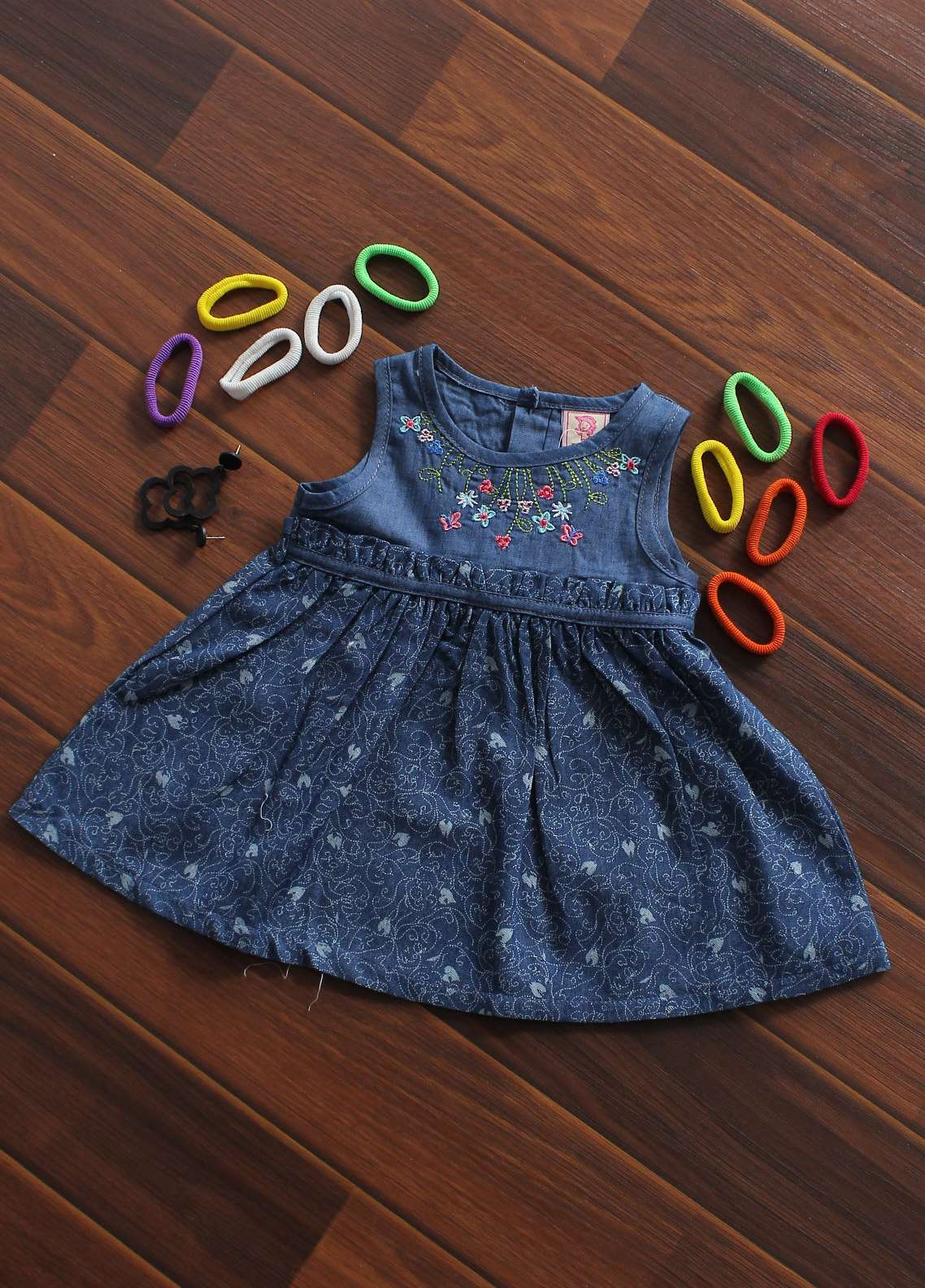 Sanaulla Exclusive Range Cotton Fancy Frocks for Girls - A360 Blue