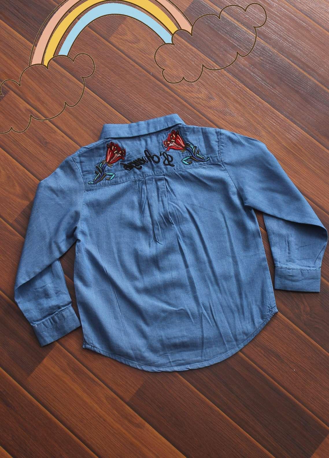 Sanaulla Exclusive Range Denim Fancy Girls Shirts -  D-428 Blue