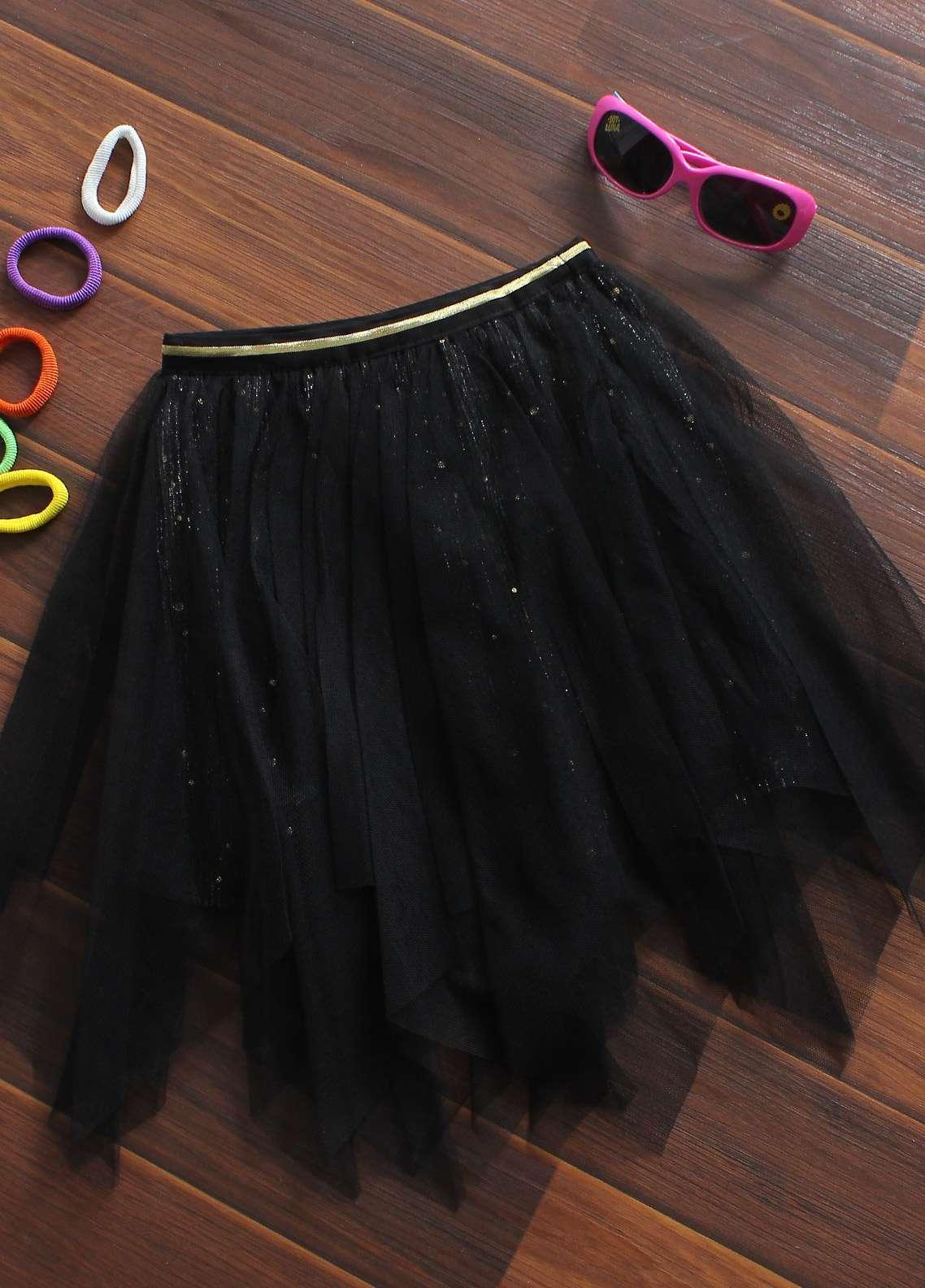 Sanaulla Exclusive Range Cotton Net Fancy Skirts for Girls -  08 Black